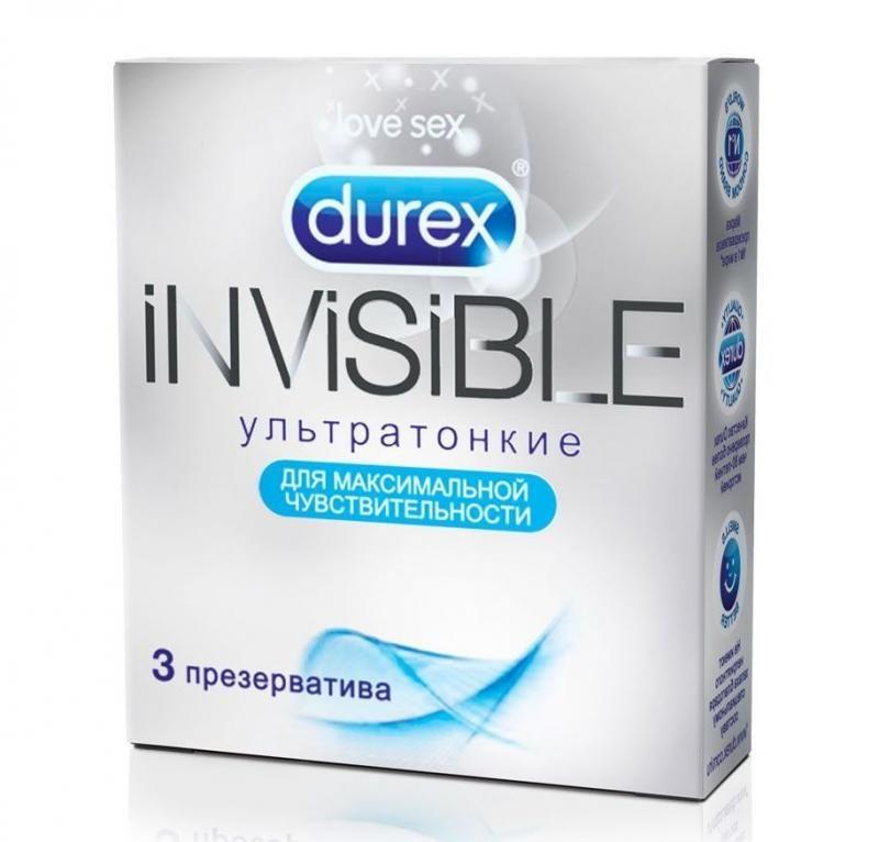Дюрекс Инвизибл ультратонкие,упаковка 3 шт.